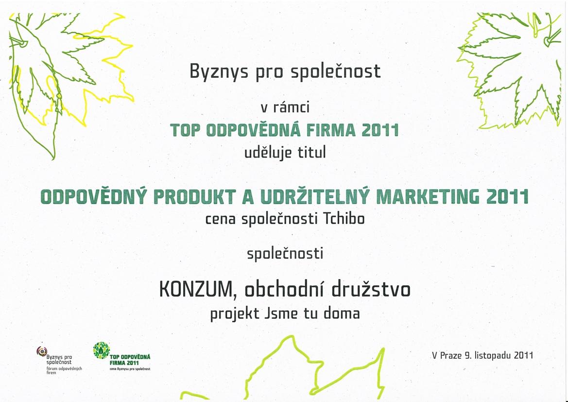 Diplom Top odpovědná firma roku 2011